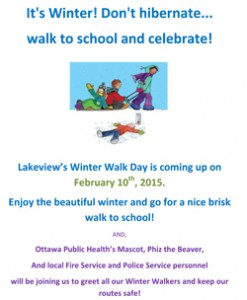 Poster for winter walk day February 10, 2015