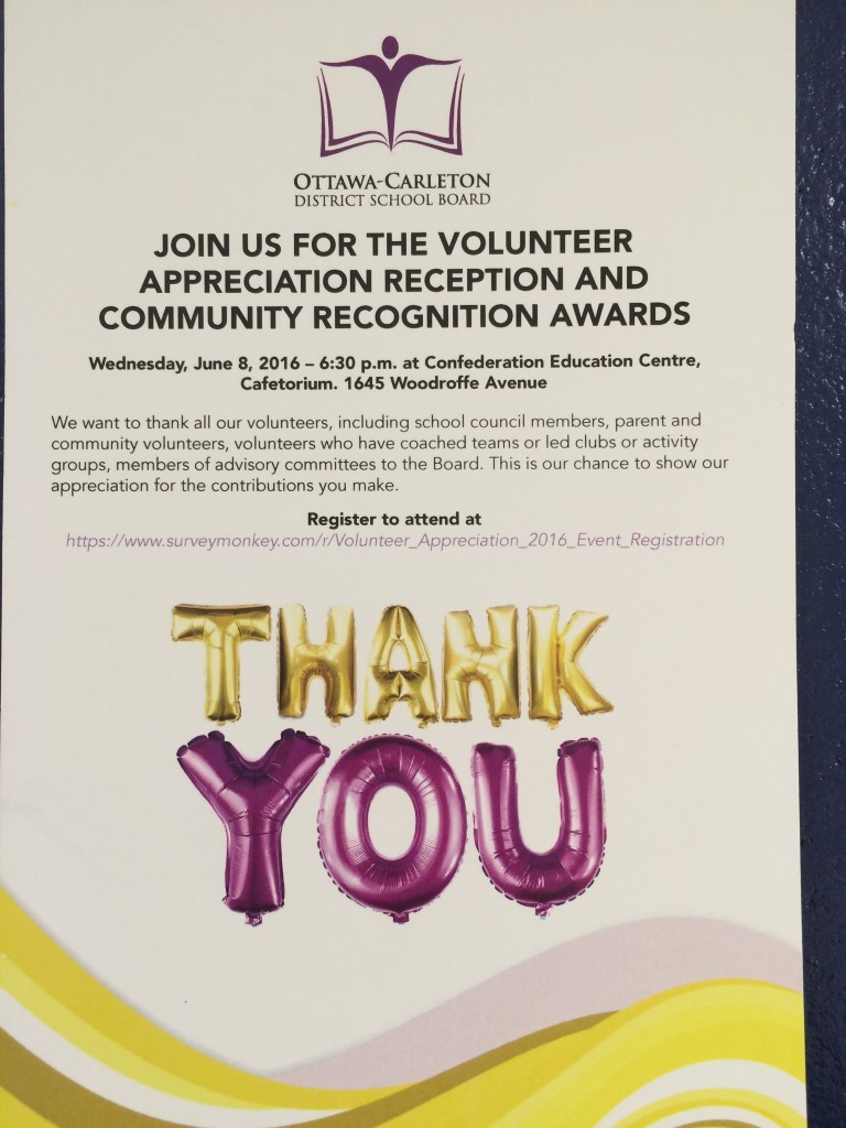The Ottawa-Carleton District School Board wants to thank all its volunteers, School Council members, parent and community volunteers, volunteers who have coached teams or led clubs or activity groups, members of advisory committees to the Board.
